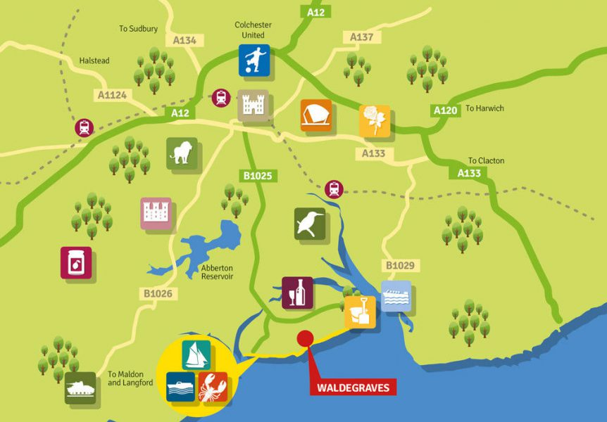 Map of Essex attractions and Colchester